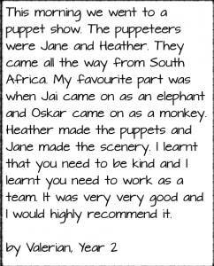 Park Hill School Puppet Show Write Up